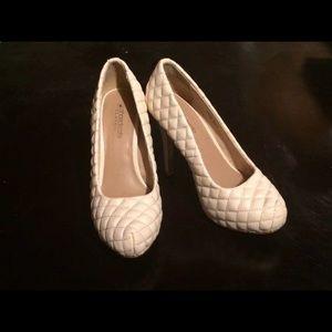 Cream quilted heels